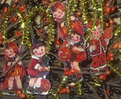 Vintage Looking Halloween Kid Ornaments--Free Shipping!!