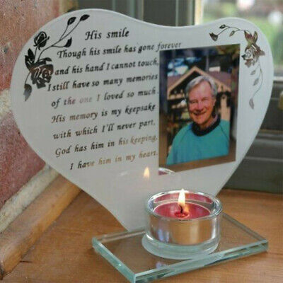 His Smile Memorial Glass Photo Candle Holder Poem Engraved Remembrance Plaque