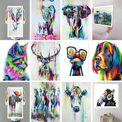 12Type Cute Square Modern Art Abstract Animal Wall Oil Painting Canvas Unframed