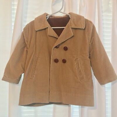 Millicent's Corduroy Children's Vintage Retro Peacoat Coat Jacket Tan Lined Warm