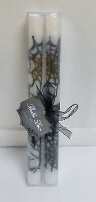 Bella Lux Set of 2 Halloween Bold Black Spider Web on White Taper Candles