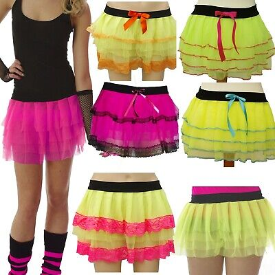 Neon Rara Tutu Skirt 4 Layers Size 8-12 Chiffon 80's Fancy Dress Hen Party Lace