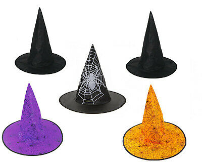 Adult Or Kids Black Witch Hat Ladies Halloween Fancy Dress Witches Accessory