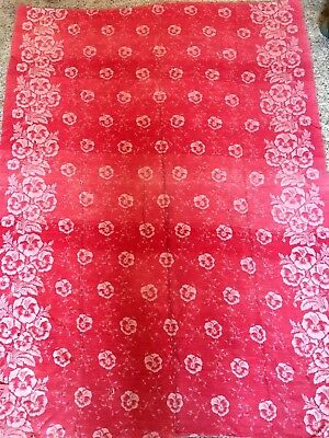 Antique Damask Turkey Red Tablecloth, 54 x 73