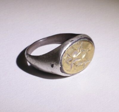 LOVELY ANCIENT ROMAN SILVER AND GOLD RING CIRCA - 2nd CENTURY AD