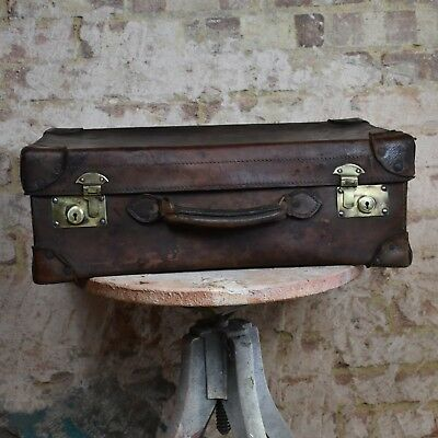 Antique Leather Travelling Case Vintage Prop Suitcase Wedding Dark Brown Storage