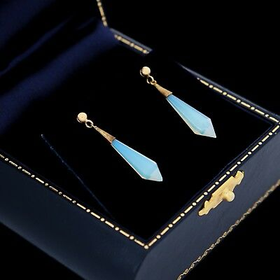 "Antique Vintage Art Deco 14k Gold Opalescent Aurora Borealis Glass 1.1"" Earrings"