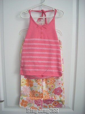 Janie and Jack SUMMER BOARDWALK Halter Top Size 6 & Floral Pants Size 5T 5 NWT