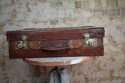 Antique Leather Travel Case Vintage prop Wedding Storage Suitcase Brown HHD