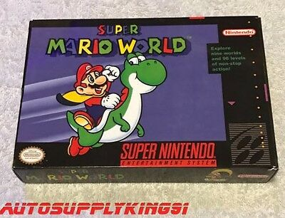 Super Mario World (Super Nintendo Snes, 1992) Jeu Complet Cib W/Custom Boîte