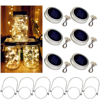 Solar Powered Mason Jar Lid Light 20 LED Fairy String Lights Xmas Garden Decor