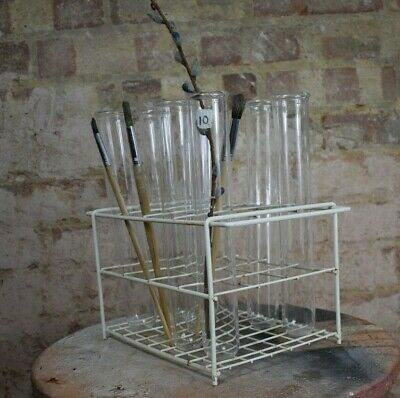Vintage Props laboratory chemist Large glass test tube wire rack quirky school