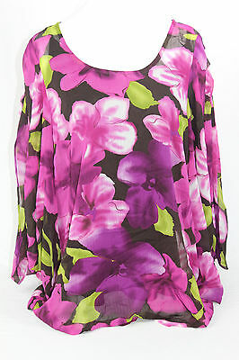 M by Marc Bouwer womens large purple floral Print Blouse Top