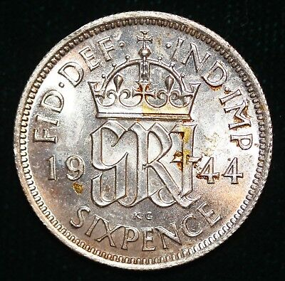 Gb George Vi Silver Sixpence - 1944  # M-04