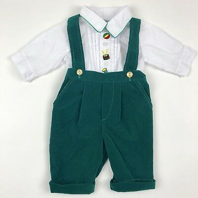 Vtg Tiny Tots Music 2 Piece Shirt Pants Outfit Set Green Velvet Baby 3-6 Months