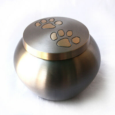 Brass Pet Urn -  Round 4 inches Tall with Brushed Pewter Finish