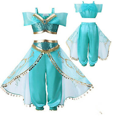 Princess Jasmine Aladdin kids Cosplay Party Women Fancy Dress Costume Outfit