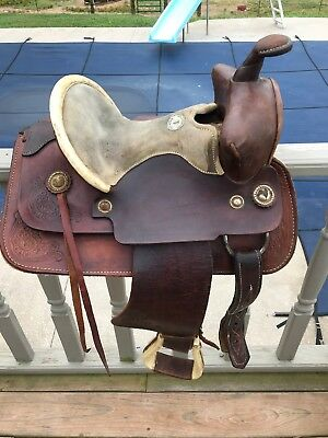 12'' TEXAS SADDLERY Brown Tooled Leather western PONY KIDS SADDLE