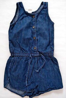 Girls Gap Blue Denim Casual Playsuit Jumpsuit Button-Up Age 4 Years
