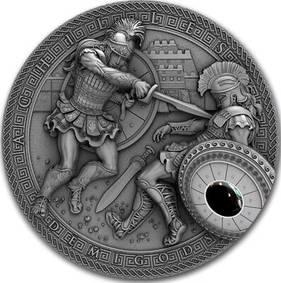 2017 2 Oz Silver $2 ACHILLES VS HEKTOR, DEMIGODS Coin WITH HEMATIT STONE..