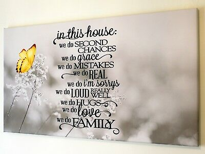 Family Quote Yellow Butterfly Grey Canvas Print Wall Art  Picture 18 X 32 Inch