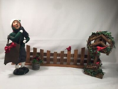 """Byers Choice Carolers """"TRADITIONAL BOY w/WOODEN SLED"""" + birdhouse, fence & crock"""