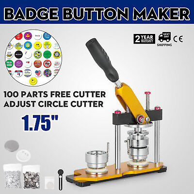 44mm(1.75'') Button Badge Maker Press Machine 100Pcs Rope Ties Buttons Rotate