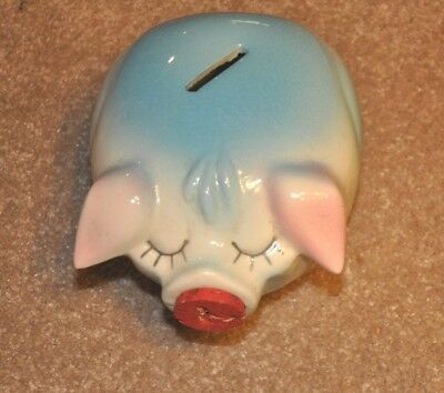 Hull Corky Pig - 1957 - piggy bank blue with pink ears