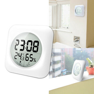 Uk_ Large Square Lcd Display Electronic Digital Clock Thermometer Wall Decor Kin