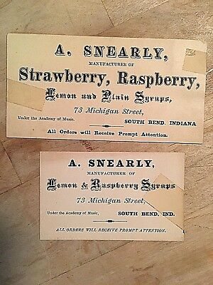 ORIGINAL 1870's A. SNEARYLY LEMON SYRUPS BUSINESS CARDS SOUTH BEND INDIANA