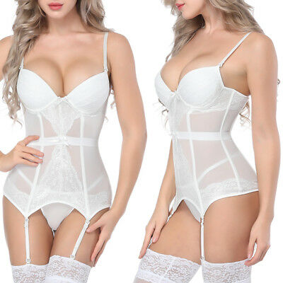 Women Deep V Neck Waist Training Corset Lingerie Shapewear with Garter Belt