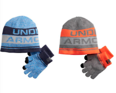 NEW Boys Youth Under Armour Hat & Glove Set Blue Orange One Size Fits Most