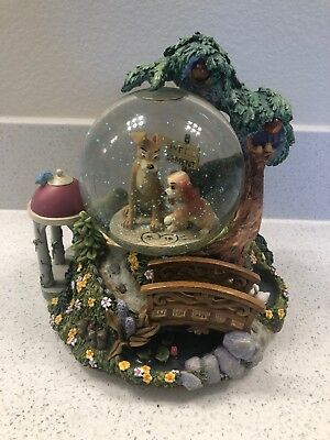 """Disney """"lady And The Tramp"""" """"Wet Cement"""" Snowglobe ***ex Cond**lights*musical*"""