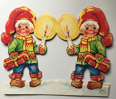 Swedish Christmas 5-Panel Double Sided Paper Stand Up Decoration Two Children