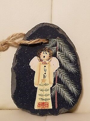Handpainted Slate Angel Christmas Ornament Collectible Folk Art Country...