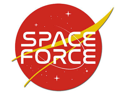 4x4 inch RED Nasa Logo Shaped SPACE FORCE Sticker  - insignia emblem trump funny