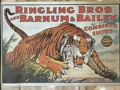 Vintage Ringling Brothers Barnum & Bailey Tiger Circus Poster Reproduction 1970s