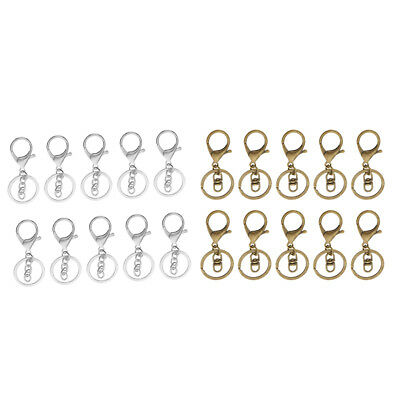 20 Sets Swivel Trigger Clip Lobster Clasp Snap Hook Key Ring Findings Crafts