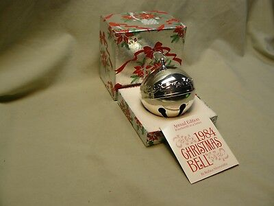 1984 Wallace Silverplate Christmas Bell with Box & Paper