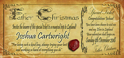 Personalised Invitation Ticket to Lapland from Father Christmas / Santa Claus