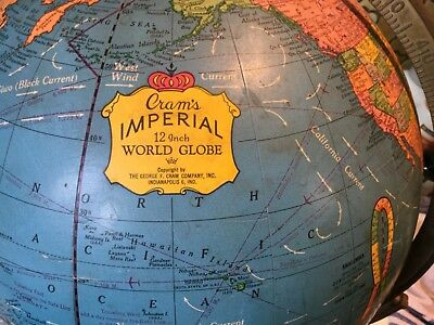"Cram's Imperial World Globe 12"". Swivel frame vintage."