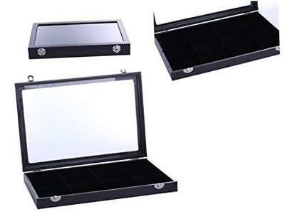 Vieworld Glass Top Lid Black Velvet Jewelry Display Case/Organizer12 Compartment