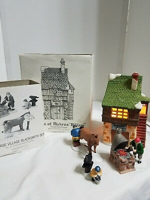 Dept 56 Dickens Village Bean & Son Smithy Shop & Blacksmith set accessory