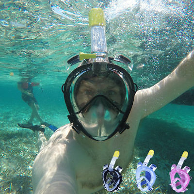 Anti-Fog Swimming Diving Full Face Snorkel Scuba Mask Surface for GoPro S/M