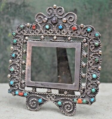 Vintage Taxco Mexican Sterling Silver Amethyst Turquoise Picture Frame Matl era