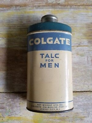 VTG COLGATE Talc For Men 3.75 oz Half Empty Tin Container