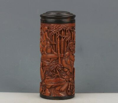 Chinese Exquisite Hand-carved landscape people carving Boxwood pot