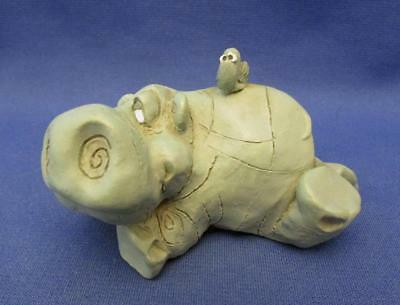 Sculpted Hippopotamus with Oxpecker Bird on its Back Figurine - Russ