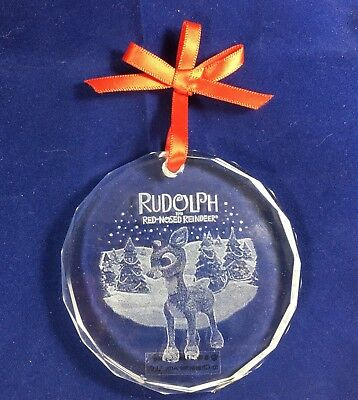 American Greeting Carlton Rudolph the Red Nosed Reindeer Etched Glass Ornament