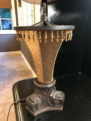 "14"" Torchiere Table Lamp Accent Light Fabric Shade Brown Entry beaded finiale"